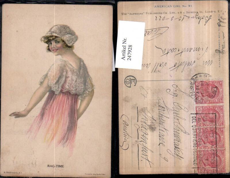 247928,Künstler AK Alice Luella Fidler Rag-Time Mädchen m. Haube Kleid Portrait
