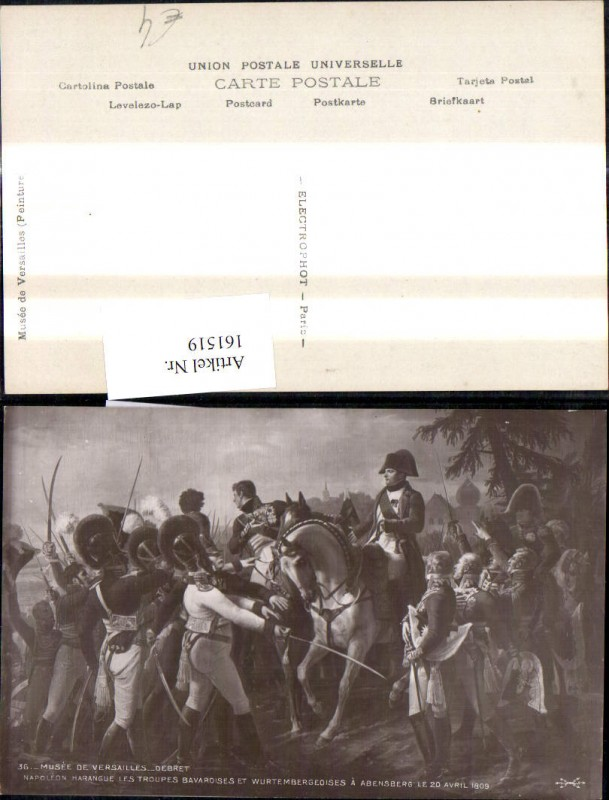161519,Künstler Ak Napoleon Harangue les Troupes Bavarosies et Wurtembergeoises a Abensberg 1809