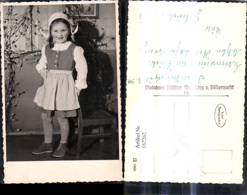 162262,Foto Ak Mädchen i. Tracht Fasching Hut Haube Trautschach 1954 pub Schüßler Wolfsberg