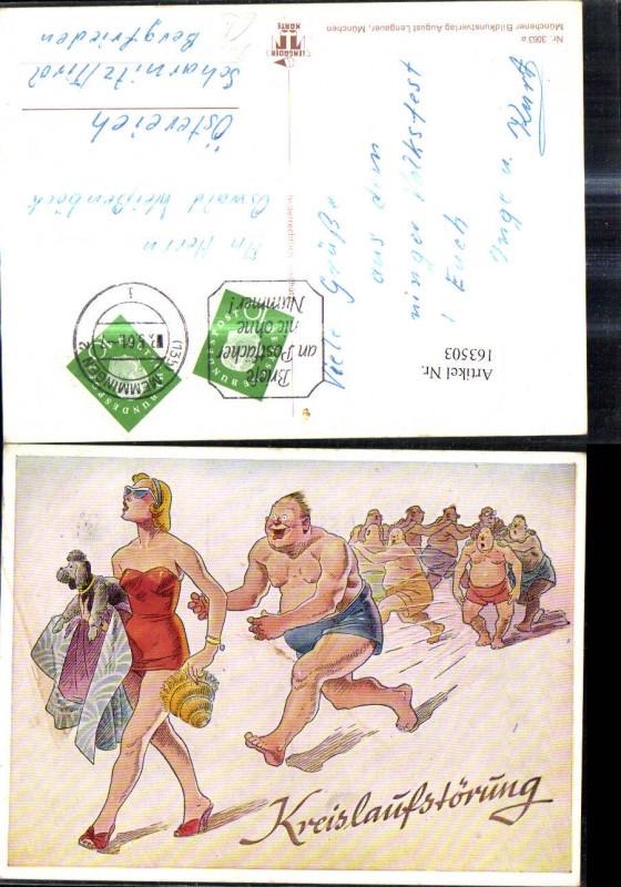 163503,Künstler Ak Frau i. Badeanzug Hund  Männer laufen hinterher Kreislaufstörung Scherz Humor  0