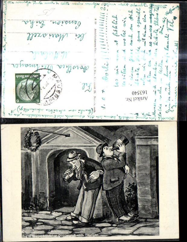 163540,Künstler Ak Betrunkene Männer Trunkenbolde Wein Gruß v. Heurigen Scherz Humor  0