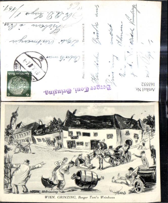 163552,Künstler Ak Schwankendes Dorf Grinzing Berger Toni Wein Scherz Humor FP Liebau i. Riesengebirge  0