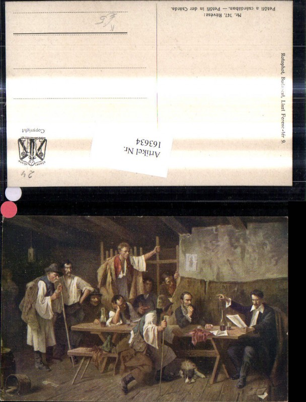 163634,Künstler Ak Revesz Petofi a csardaban Hirten Ungarn Gaststube  0