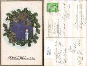 249198,Weihnachten Tannenzweige Glocken Kerzen