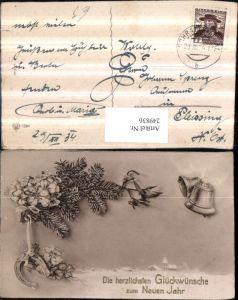 249836,Neujahr Winterlandschaft Tannenzweige Kleeblätter Klee Hufeinsen Glocken