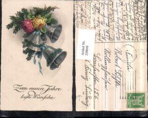 250048,Neujahr Tannenzweige Chrysanthemen Glocken pub HWB 1954