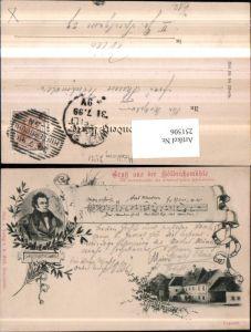 251506,Gruß aus d. Höldrichsmühle b. Hinterbrühl Gasthof Franz Schubert Portrait Mehrbildkarte Liedzeile