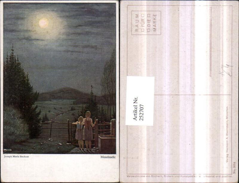 252707,Künstler AK Joseph Maria Beckert Mondnacht Mondschein Kinder Mädchen m. Zöpfen Holzzaun Landschaft