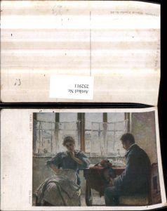 252911,Künstler AK Carl Zewy Der Freier Mann u. Frau b. Tisch Fenster