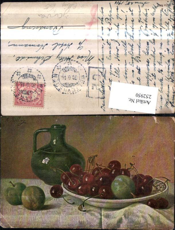 252950,Künstler AK M. Billing Stillleben Schale Kirschen Äpfel Krug