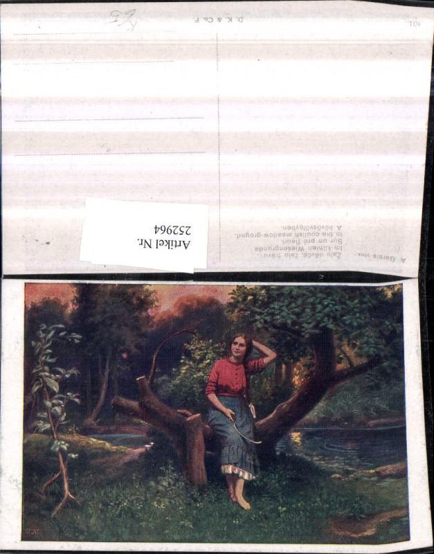 252964,Künstler AK A. Gareis Im kühlen Wiesengrunde Frau m. Zopf Fluss Wiese Partie