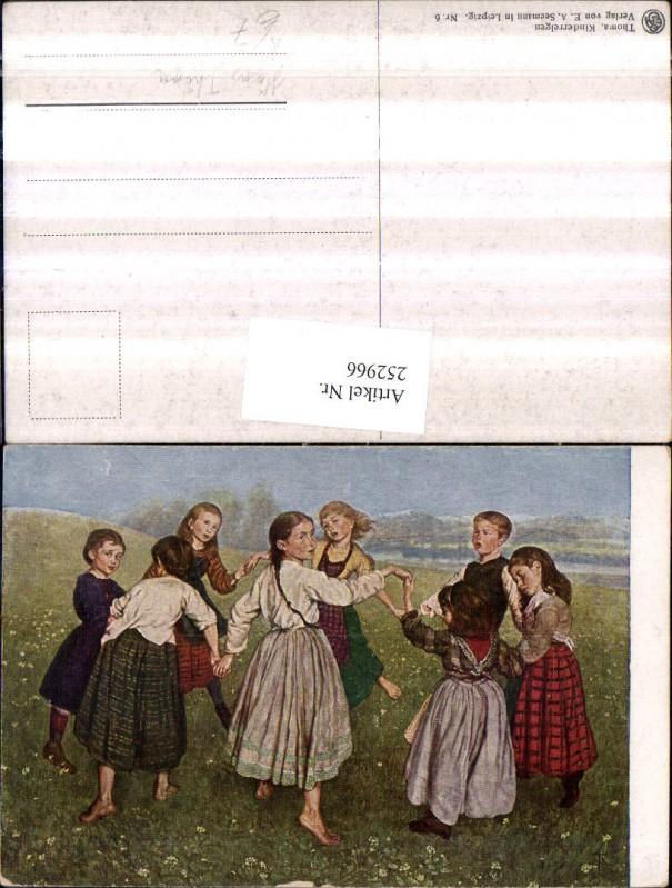 252966,Künstler AK Hans Thoma Kinderreigen Kinder b. Tanzen Ringeltanz Wiese