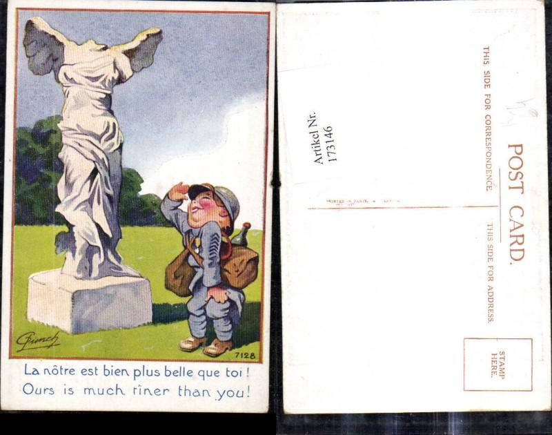 173146,Künstler Ak G. Lunch Scherz Humor Bub Kindersoldat salutiert v. kopfloser Statue Spruch