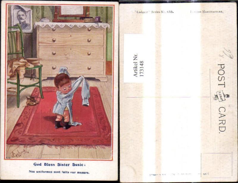 173148,Künstler Ak T. Gilson Scherz Humor Bub i. Männerhemd God Bless Sister Susie Spruch
