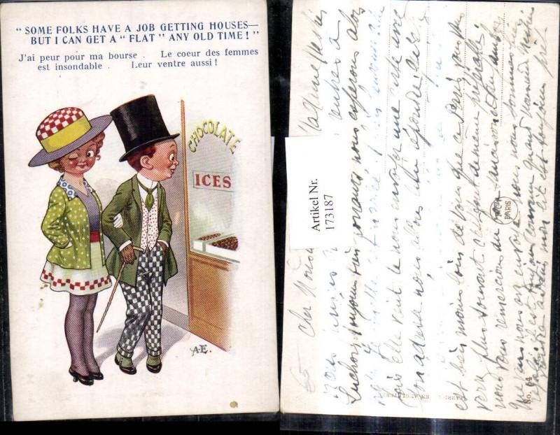 173187,Künstler Ak Scherz Humor Paar v. Chocolate Ices Auslage Spruch Text