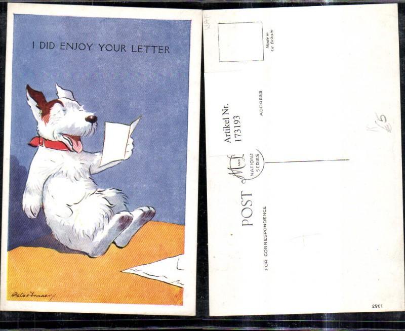 173193,Künstler Ak Scherz Humor Hund liest lachend Brief Lesen I did enjoy your Letter