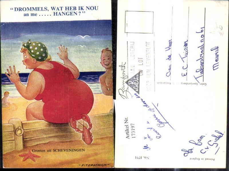 173197,Künstler Ak Fitzpatrick Scherz Humor Dicke Frau wird v. Krabbe i. Po gezwickt Spruch Text