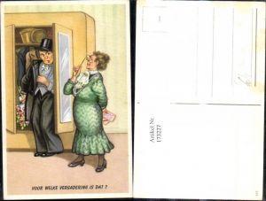 173227,Künstler Ak Scherz Humor Mann versteckt sich i. Schrank Frau Voor welke vergadering is dat Spruch