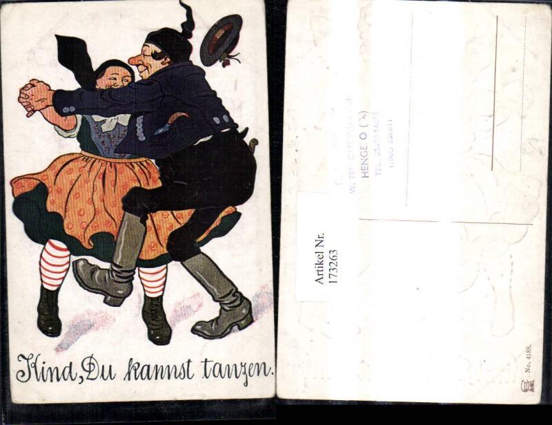 173263,Präge Künstler Ak Scherz Humor Tanzendes Paar Kind du kannst tanzen