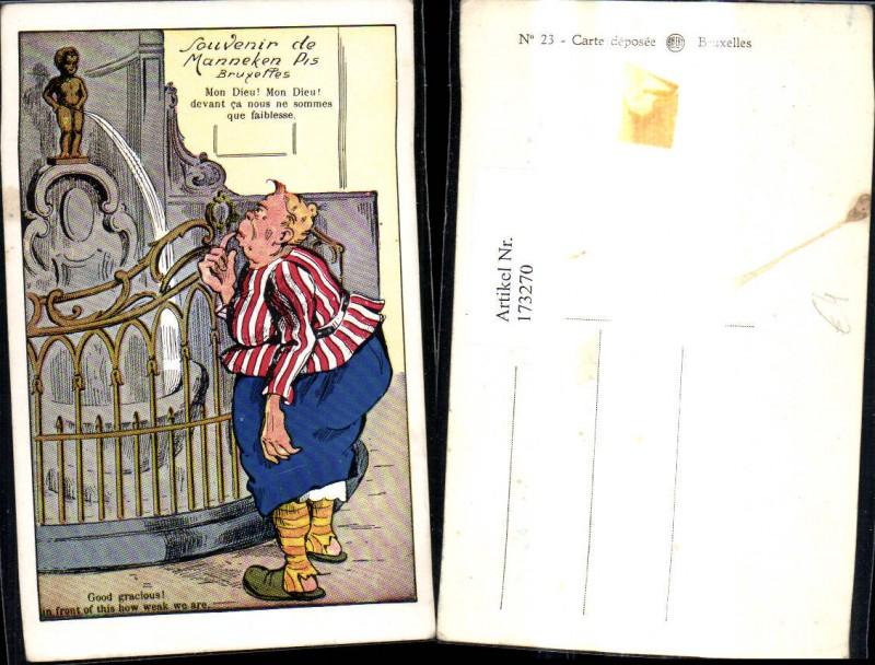173270,Künstler Ak Scherz Humor Frau v. Manneken Pis Brunnen Bruxelles