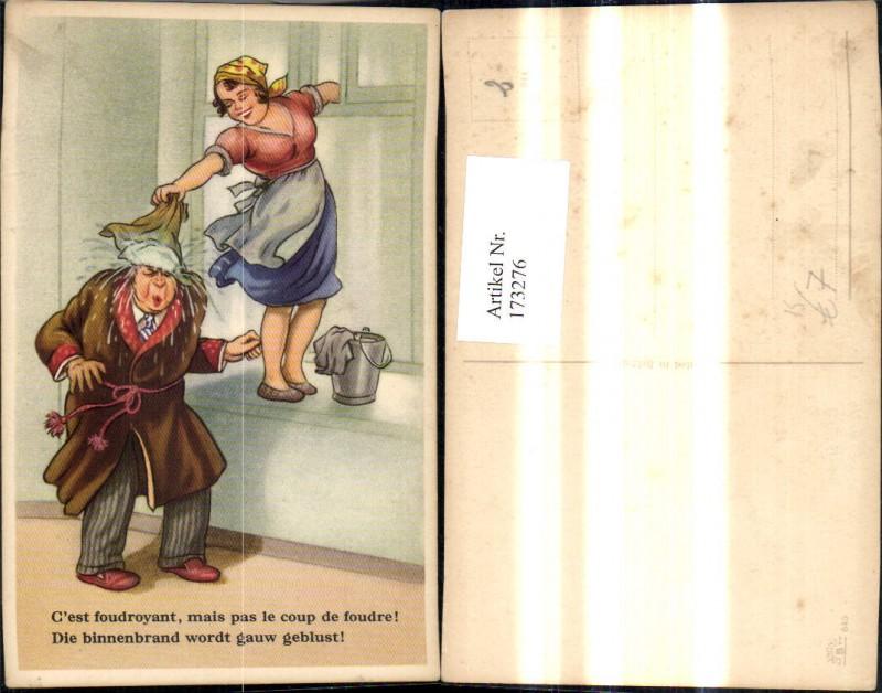 173276,Künstler Ak Scherz Humor Frau b. Fensterputzen Mann m. Putztuch a. Kopf Spruch Text