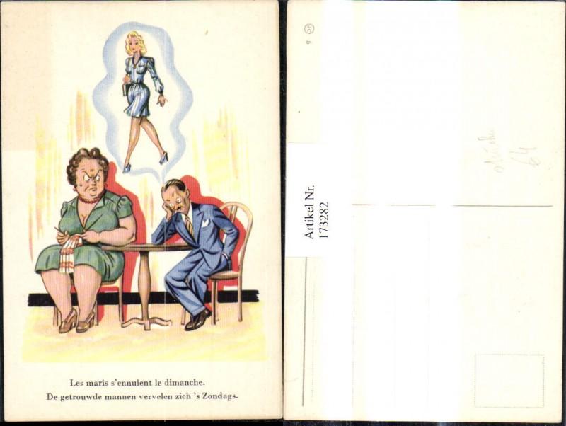173282,Künstler Ak Scherz Humor Ehefrau b. Stricken Mann träumt v. Frau Spruch Text