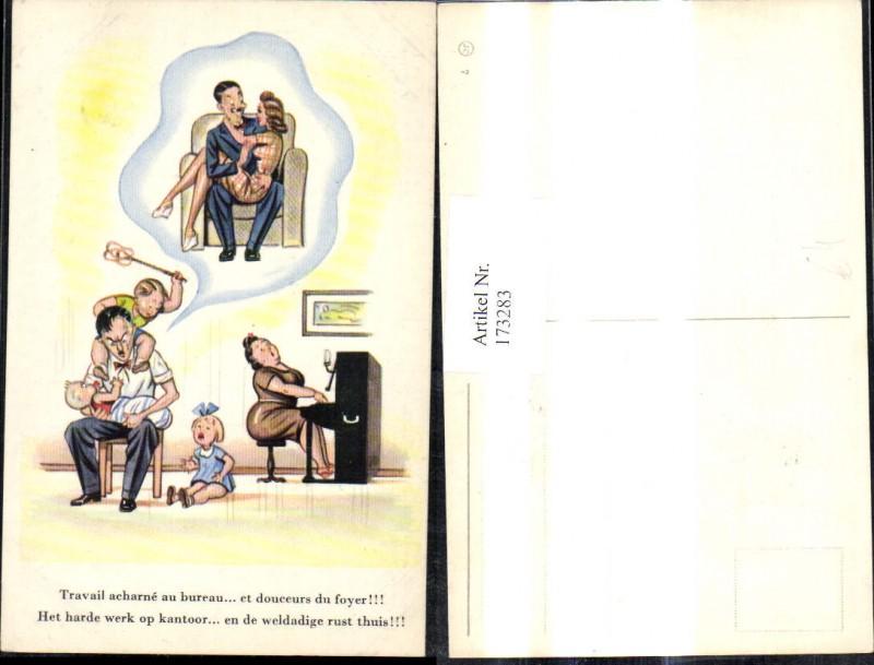 173283,Künstler Ak Scherz Humor Vater m. Kinder u. Ehefrau träumt v. Sexy Frau Spruch