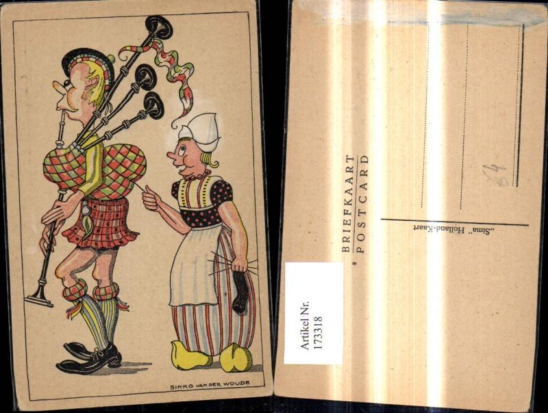 173318,Künstler Ak Sikko van der Woude Scherz Humor Frau Holland b Stricken zieht a. Faden Duddelsackspieler