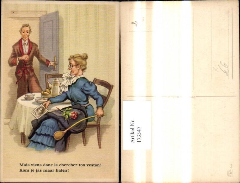 173347,Künstler Ak Scherz Humor Ehefrau m. Bild anderer Frau Mann i. Tür Spruch Text