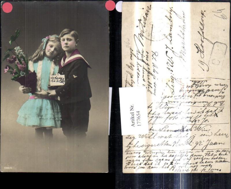 177654,Kinder Bub Junge Matrosenanzug Uniform Mädchen Kleid Blumentopf Blumen