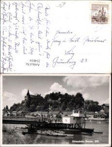 254819,Ottensheim an d. Donau Anlegeplatz Ruderboote Blick auf Schloss