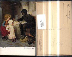 178700,Künstler Ak H. Kaulbach Der Schwarze Mann Schornsteinfeger Rauchfangkehrer b. Essen Küche Kinder