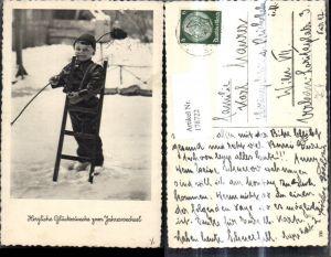 178722,Foto Ak Kind Junge Bub als Schornsteinfeger Rauchfangkehrer Neujahr