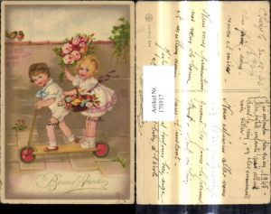 178917,Künstler Ak Kinder a. Roller Blumen Korb Strauß Matrosenanzug Bonne Annee
