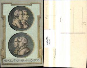 181219,Künstler Ak Revolution Brabanconne Büsten Männer Portrait Passepartout