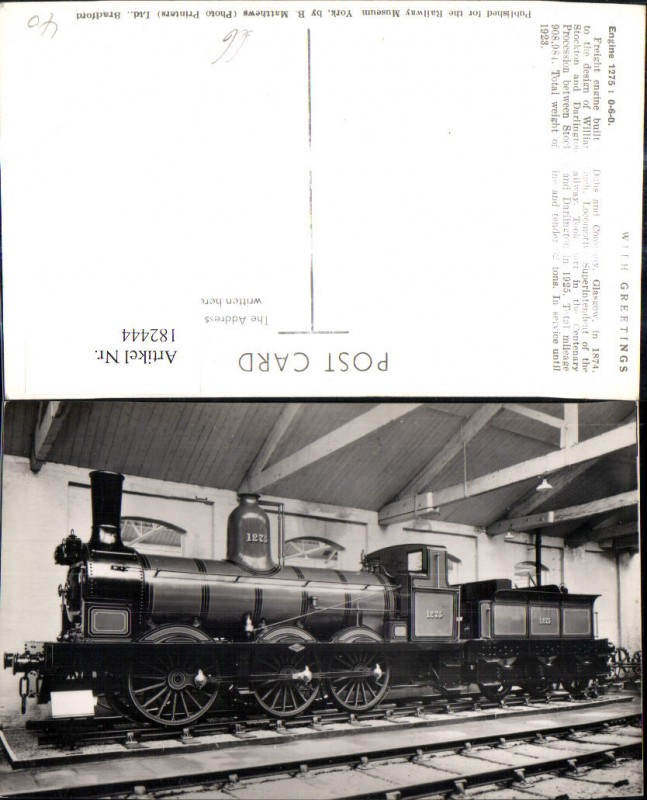 182444,Eisenbahn Zug Lokomotiven Train Dampflok Engine 1275 Dubs and Company