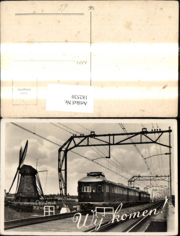 182520,Foto Ak Eisenbahn Zug Lokomotiven Train Gleise Windmühle Wij komen