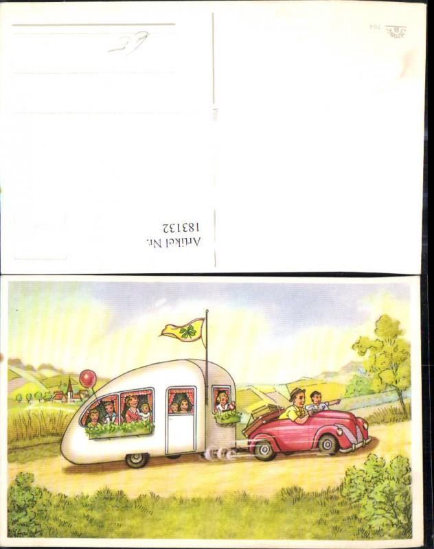 183132,Künstler Ak Auto m. Wohnanhänger Wohnwagen Flagge Kleeblatt