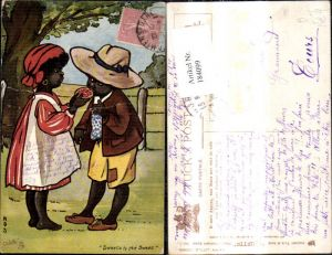 184099,Künstler Ak Mos Afrikanische Kind Orangescheibe Sweets to the Sweet pub Raphael Tuck and Sons 9049