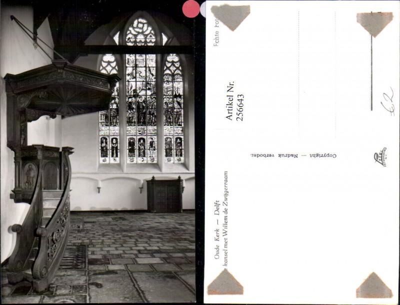 256643,Delft Oude Kerk kanselmet Willem de Zwijgerraam Kirche Innenansicht Kanzel