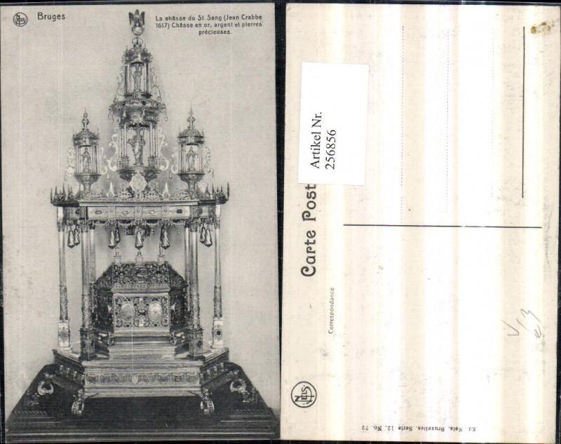 256856,Bruges La chasse du St. Sang Chasse en or argent et pierres precleuses Truhe Detailansicht pub Ed. Nels 12/72