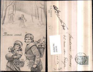 258193,V.K. Vienne 5058 Künstlerkarte Frau m. Kind Hauben Muff Hund Mistelzweige Spielzeug Schneeballschlacht