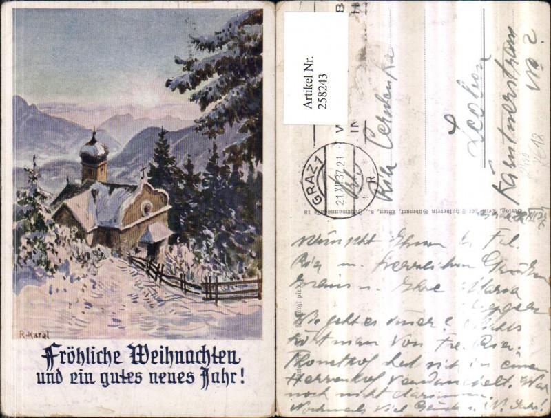 258243,Deutscher Schulverein 2430 Künstler R. Kargl Weihnachten Neujahr Kirche Bergkulisse Winterbild