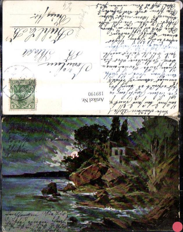 189190,Künstler Ak T. Guggenberger Haus Festung Ufer See b. Mondschein Landschaft