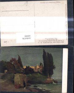 189495,Künstler Ak A. Böcklin Die Villa am Meer Abendstimmung pub F. Bruckmann