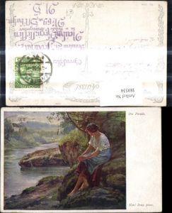 189534,Künstler Ak Karl Zewy Die Forelle Frau sitzt a. Ufer Stein Fluss Landschaft pub B.K.W.I. 1589