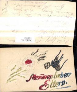 189832,Glitzer Ak Relief Handgemalt Blume Schrift
