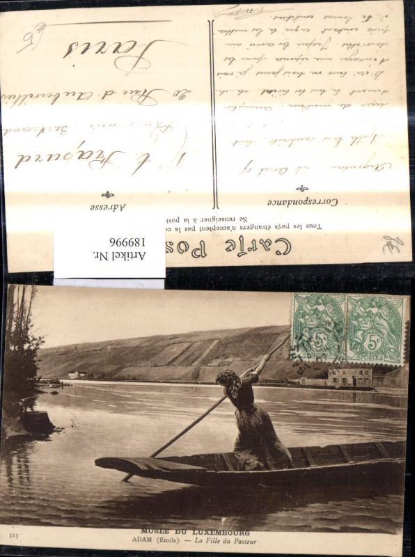 189996,Künstler Ak Adam Emile La fille du Passeur Frau Zille Boot Fluss Landschaft