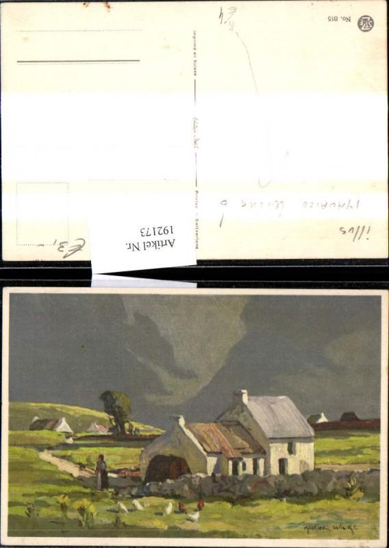 192173,Künstler Ak Maurice Wilke Haus Frau Bäuerin Hühner Landschaft