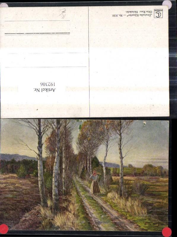 192306,Künstler Ak Otto Rau Heimkehr Frau Bäuerin m. Sense Weg Birken Allee Landschaft